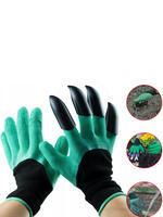 Купить Перчатки зеленые садовые с когтями 75 гр. + Перчатки хлопчатобумажные с ПВХ покрытием в подарок. id1266752359