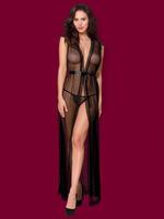 Купить Черный прозрачный женский пеньюар с открытой спиной и корсетом, эротический комплект 2 предмета id65762872