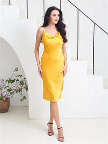 Стильное женское платье жёлтого цвета, купить онлайн id1933502084