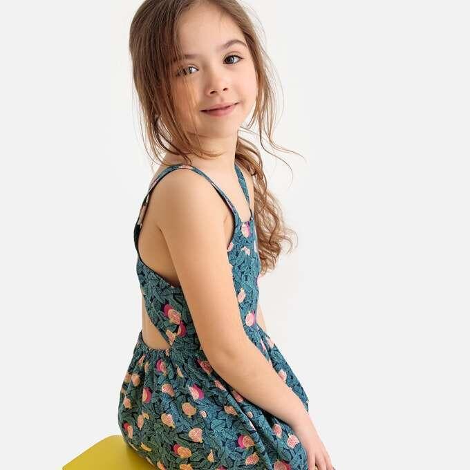 Платье на бретелях с рисунком и открытой спинкой, девочкам 3-12 лет id598343
