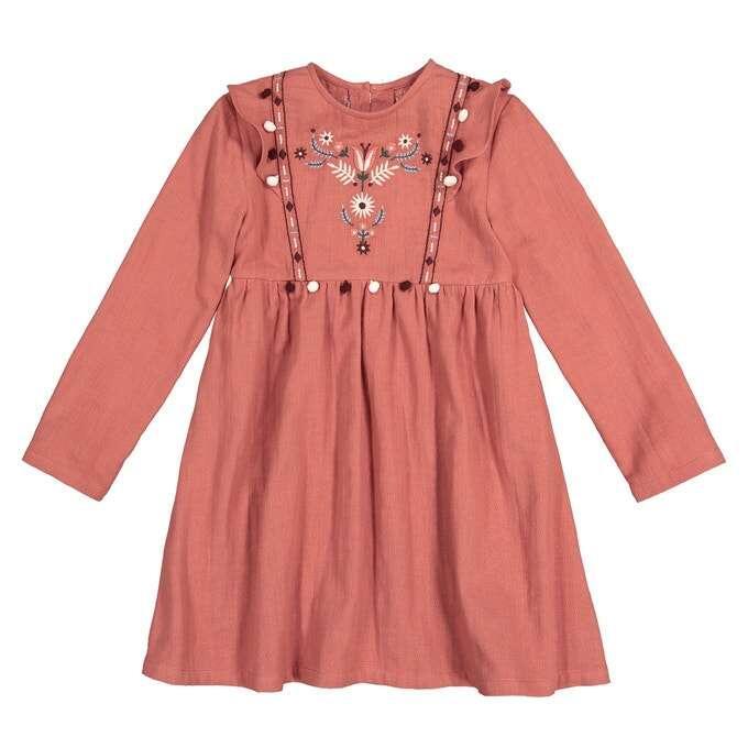 Платье с вышивкой с воланами, девочкам 3-12 лет id108645694