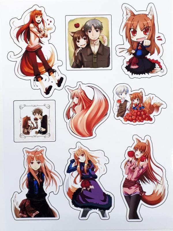 Наклейки Spice and Wolf Sticker Волчица и Пряности Лист Стикеров id11515476