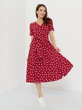 Платье в горошек красного цвета id1982325417