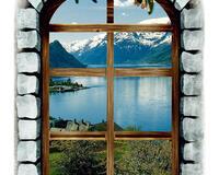 """Оригинальная Наклейка для декора """"Окно на горы"""" легкосъемная (многоразовая) id76528675"""
