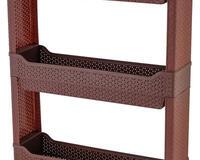 Купить Стеллаж ротанг универсальный 3-секционный узкий на роликах, венге id682307497